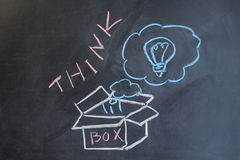 Think outside the box. Chalk drawing - Think outside the box Royalty Free Stock Images