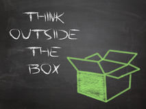 Think outside the box. Painting on blackboard royalty free stock photography