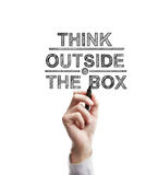 Think outside box. Man hand draws think outside the box Stock Images
