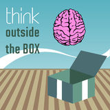 Think outside the box. Abstract colorful background with pink brain coming out from a box and the text think outside the box written near on the wall Stock Photography