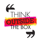 Think outside the box artistic grunge motivation creative lettering composition. Vector design element.  Stock Images