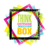 Think outside the box artistic grunge motivation creative lettering composition. Vector design element.  Royalty Free Stock Image