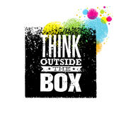 Think outside the box artistic grunge motivation creative lettering composition. Vector design element.  Stock Photography