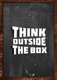 Think outside box blackboard Stock Photos