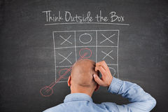 Think outside the box Blackboard Stock Photo