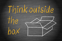 Think outside the Box. Brainstorming and innovation concept stock illustration