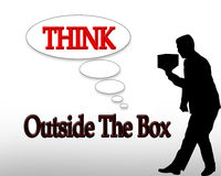 Think Outside the Box Business. 3 Dimensional illustration for business logo or slogan Royalty Free Stock Images