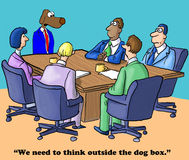 Think Outside Box. Business cartoon about thinking outside the box Stock Photos