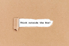 Think outside the box business concept Stock Photos