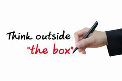 Think outside the box. Businessman writing think outside the box for business concept Royalty Free Stock Image