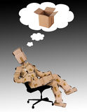 Think outside the box concept. With a box man character in a chair and a thought cloud Royalty Free Stock Image