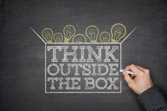 Think outside the box concept on blackboard Royalty Free Stock Photo