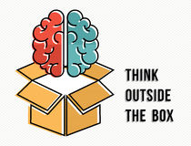 Think outside the box concept with brain design Royalty Free Stock Images
