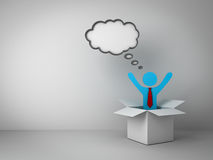 Think outside the box concept, Business man standing with arms wide open in open box with thought bubble above his head. Over empty white wall background Royalty Free Stock Photos