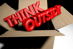 Think outside the box concept. 3d rendered image Royalty Free Stock Images