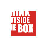 Think outside the box. Concept design in red and white with partial lettering leaving the viewer to think and visualise the rest of the word and text outside Stock Photo
