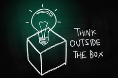 Think Outside the Box. Concept, drawn with Chalk on Blackboard Stock Photo