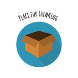Think Outside the Box Concept. Empty Box in FLat Style. And White Place for Thinking. Vector Icon Royalty Free Stock Images