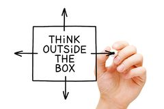Think Outside The Box Concept. Hand drawing Think Outside The Box concept with black marker on transparent glass board isolated on white royalty free stock photos
