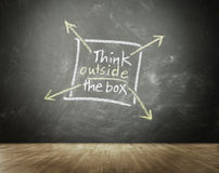 Think Outside The Box concept. With a hand-drawn square box with four radiating arrows on a blackboard above a wooden parquet floor conceptual of originality Royalty Free Stock Images