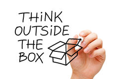 Think Outside The Box Concept. Handwriting Think Outside The Box next to an open box drawn with marker on transparent wipe board royalty free stock images