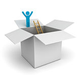 Think outside the box concept, man standing with arms wide open on top of the opened cardboard box over white Royalty Free Stock Images