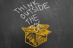 Think outside the box concept with text on blackboard stock photos