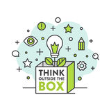 Think Outside the Box Concept. Vector Icon Style Illustration of Think Outside the Box Concept , Imagination, Smart Solution, Creativity and Brainstorm royalty free illustration
