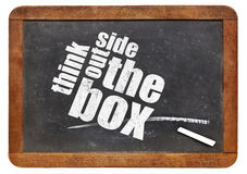 Think outside the box. Concept on a vintage slate blackboard royalty free stock images