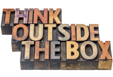 Think outside the box concept in wood type Royalty Free Stock Photography