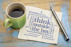 Think outside the box concept. Word cloud on a napkin with a cup of coffee stock images