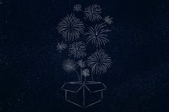Box with fireworks flying out of it. Think outside the box conceptual illustration: box with fireworks flying out of it Stock Image