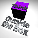 Think outside the box. 3d design. Text Think outside the box Stock Images