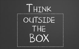 Think outside the box. Drawn on a chalkboard stock illustration