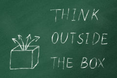THINK OUTSIDE THE BOX on a green chalk board. Concept image about unconventional or different thinking. 'Think outside the box' handwritten with white chalk on a stock photography