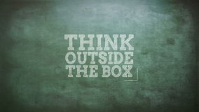 Think outside the box. On green screen vector illustration