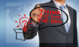 Think outside the box hand drawing by businessman Stock Images