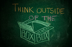 Think outside of the box. Handwritten message on a chalkboard royalty free stock photos
