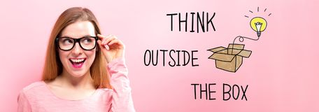 Think Outside The Box with happy young woman. Holding her glasses Stock Images