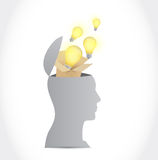 Think outside the box head concept. illustration Royalty Free Stock Image
