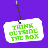 Think Outside The Box On Hook Shows Royalty Free Stock Photos