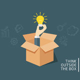 Think Outside The Box, Ideas Concept Of Opened Box With Hand Holding A Light Bulb. Man holding a light bulb on open box, Think outside the box Illustration Stock Image