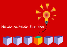 Think outside the box. Illustration to a concept of being creative, to rise above conventional thinking, being different, a solution provider, a leader Stock Illustration