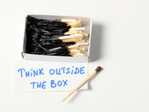 Think outside the box. Mach box - think outside the box concept stock photos