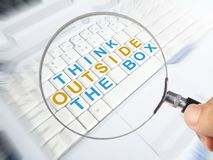 Think Outside The Box, Motivational Words Quotes Concept stock image