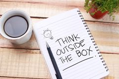 Think Outside The Box, Motivational Words Quotes Concept royalty free stock photo