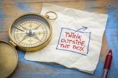Think outside the box - napkin doodle Stock Photography