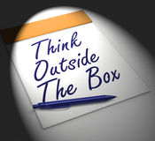 Think Outside The Box Notebook Displays Creativity Or Brainstorm Stock Photos