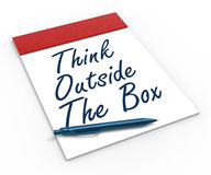 Think Outside The Box Notebook Means Creativity Stock Photos