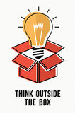 Think outside the box powerful ideas concept. Think outside the box creative concept with light bulb lamp illustration in modern line art style. EPS10 vector Stock Photography